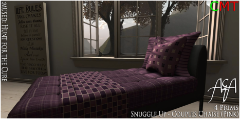 __A&A__ Snuggle Up - Couples Chaise (Pink) - Hunt for the cure