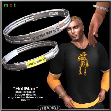 AIDORU hellman bracelet steel and citrine